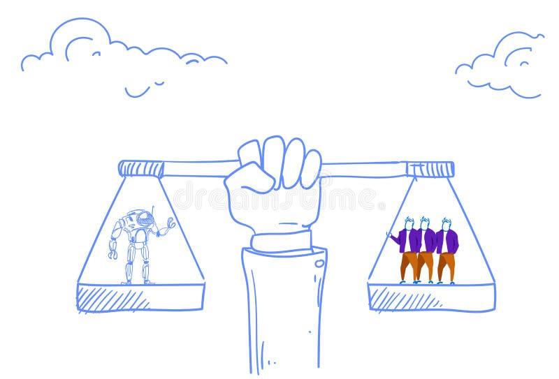 Человеческая рука держа баланс вычисляет по маcштабу человека против современного doodle эскиза концепции искусственного интеллек иллюстрация штока
