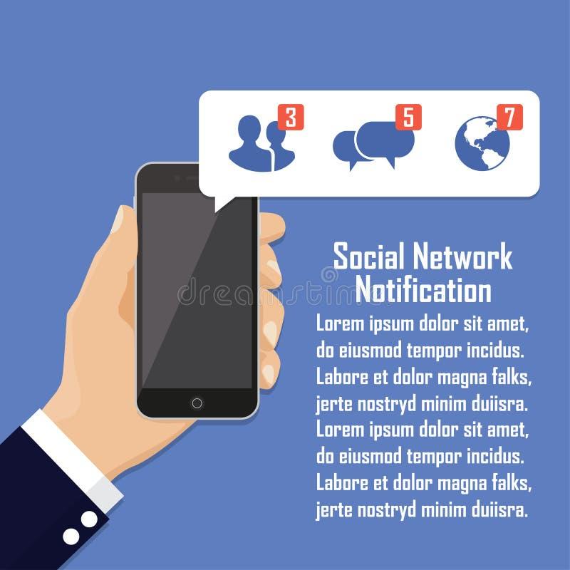 Человеческая рука держа мобильный телефон с социальным уведомлением сети на экране иллюстрация вектора