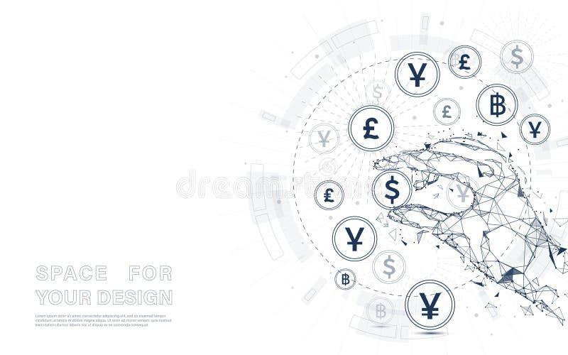 Человеческая рука держа монетку валюты Денежный перевод Глобальная валюта иллюстрация штока