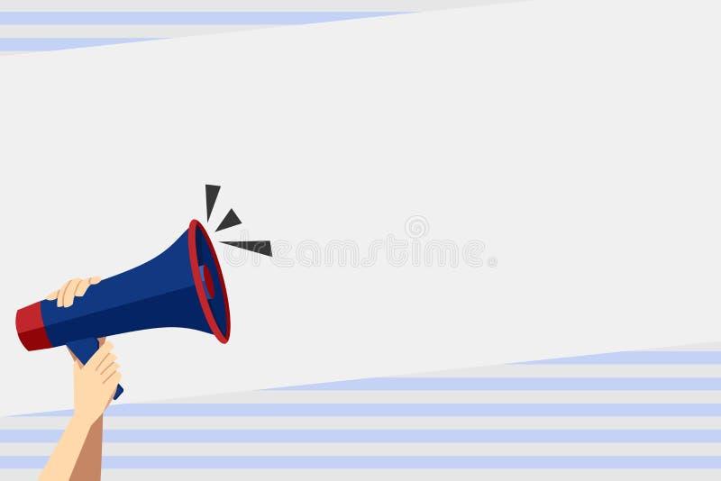 Человеческая рука держа плотно мегафон со значком тома Пустой космос слова для объявления и продвижений loudhailer иллюстрация вектора