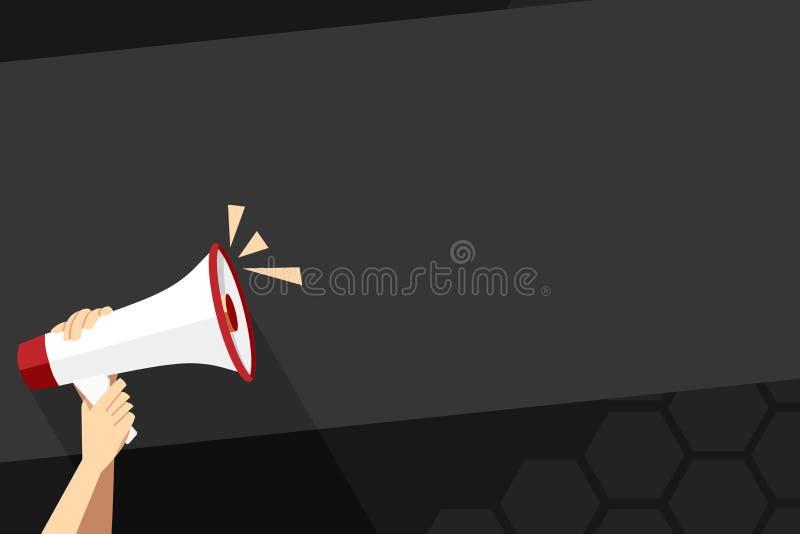 Человеческая рука держа плотно мегафон со значком тома Пустой космос слова для объявления и продвижений loudhailer бесплатная иллюстрация