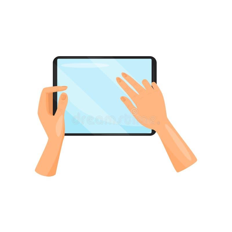 Человеческая рука держа цифровой планшет и касаясь экран с пальцами устройство самомоднейшее Передвижной компьютер Плоский значок иллюстрация вектора