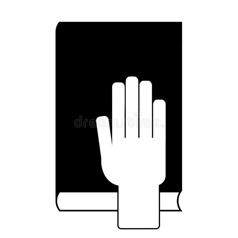 Человеческая рука на библии иллюстрация вектора