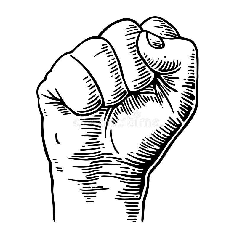 Человеческая рука с годом сбора винограда черноты вектора сжатого кулака выгравировала иллюстрация вектора