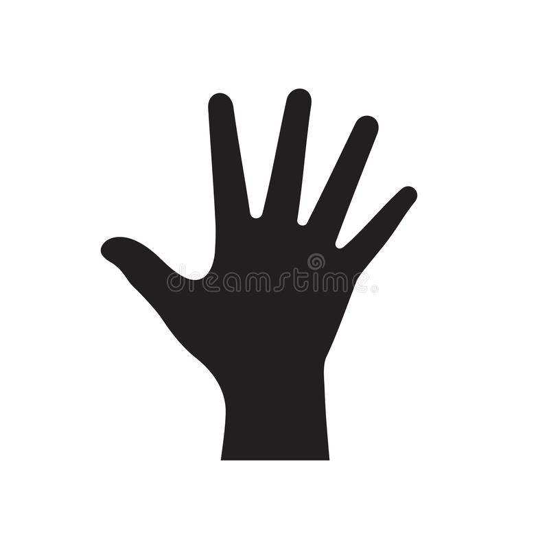 Человеческая рука - черный значок на белой иллюстрации вектора предпосылки для вебсайта, мобильного применения, представления, in иллюстрация вектора