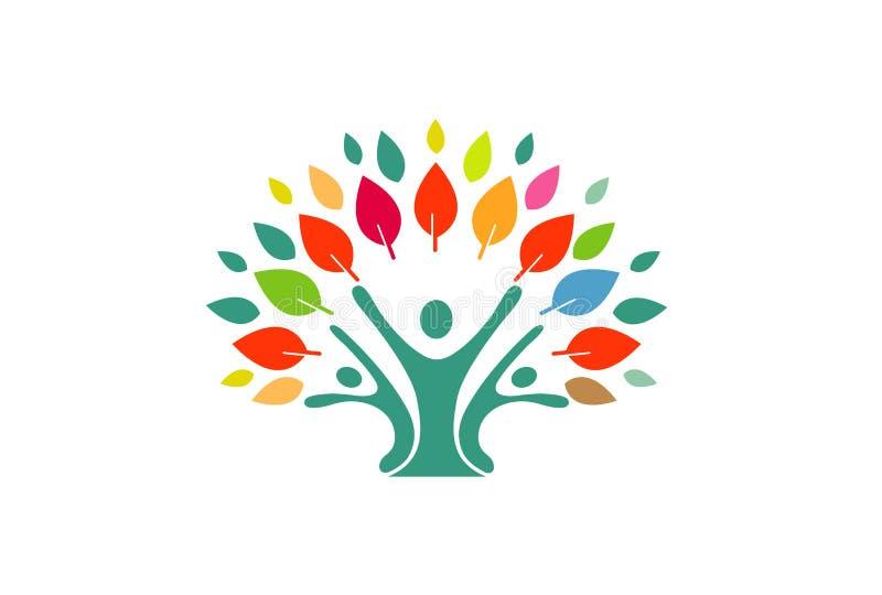 Человеческие люди выходят дизайн логотипа дерева иллюстрация штока