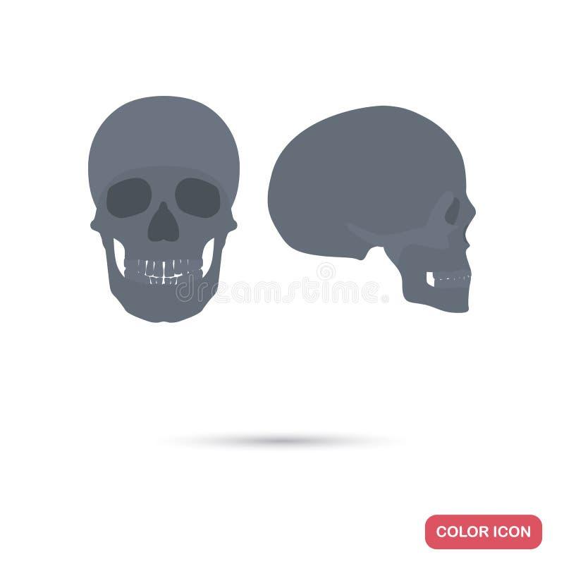 Человеческие профиль и фасетка черепа осматривают значки цвета плоские для сети и передвижного дизайна иллюстрация штока