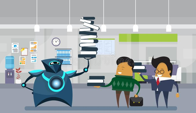 Человеческие работники офиса робота, современное робототехническое удерживание большой стог книг над бизнесменами иллюстрация штока