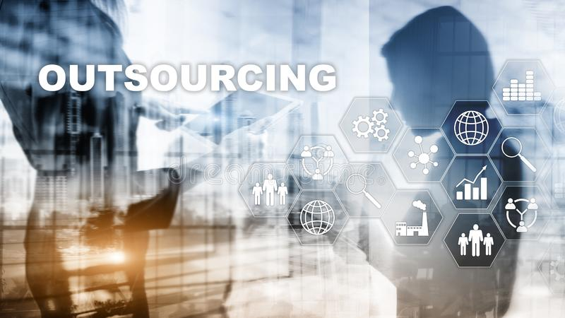 Человеческие ресурсы аутсорсинга Концепция индустрии глобального бизнеса Независимый Outsource международное партнерство иллюстрация штока