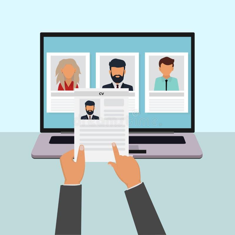 Человеческие ресурсы, удаленное заявление о приеме на работу, концепция вектора собеседования для приема на работу иллюстрация штока