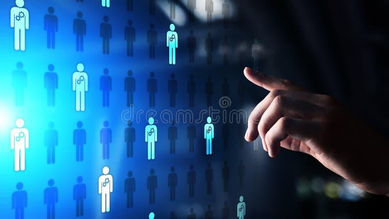 Человеческие ресурсы управление HR, тимбилдинг, рекрутство, талант хотели, сильное желание, концепция дела занятости иллюстрация вектора
