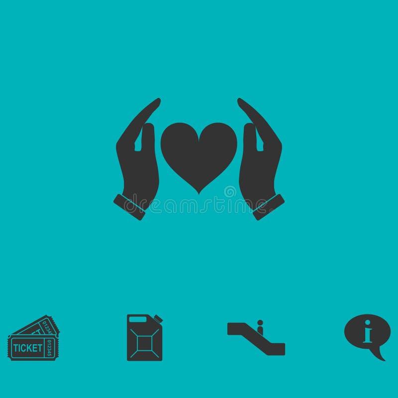 Человеческие руки держа и защитить значок сердца плоско иллюстрация штока