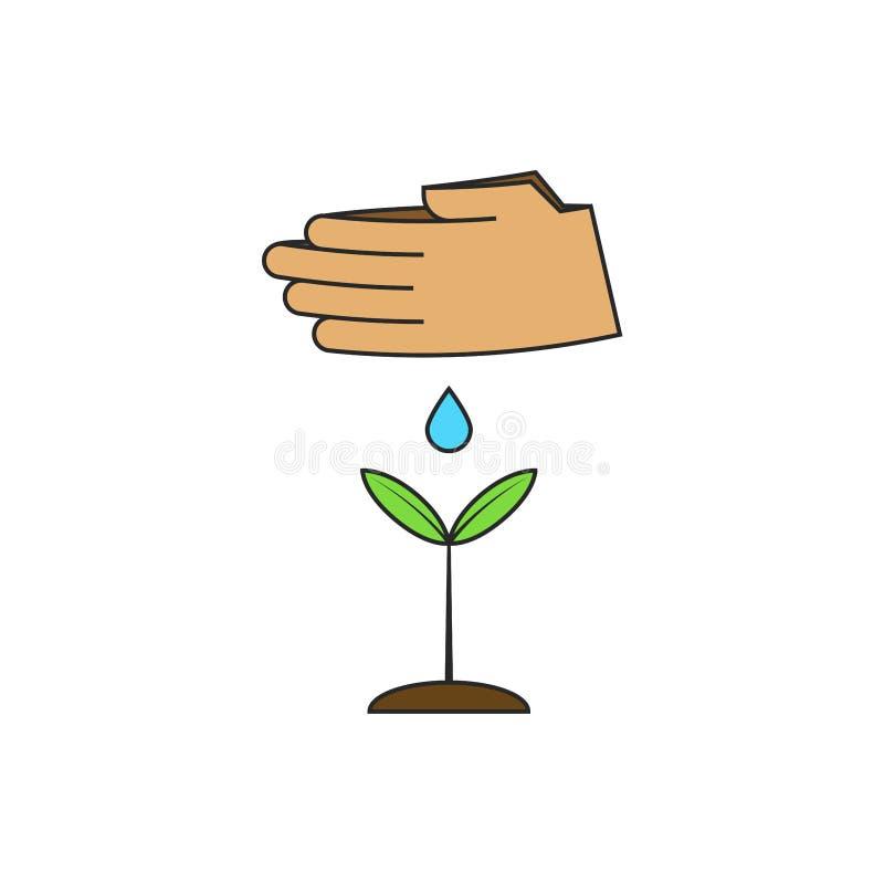 Человеческие руки моча молодой завод Иллюстрация вектора на теме восстановления лесов мира Рост саженца и зеленеть иллюстрация вектора
