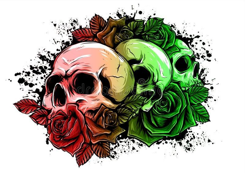 Человеческие черепа с розами на белой предпосылке иллюстрация вектора