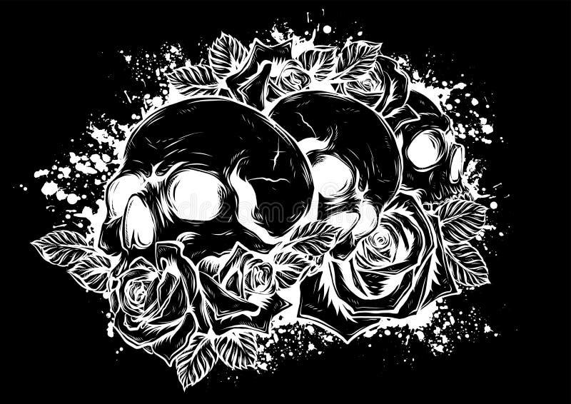 Человеческие черепа с розами на белой предпосылке бесплатная иллюстрация