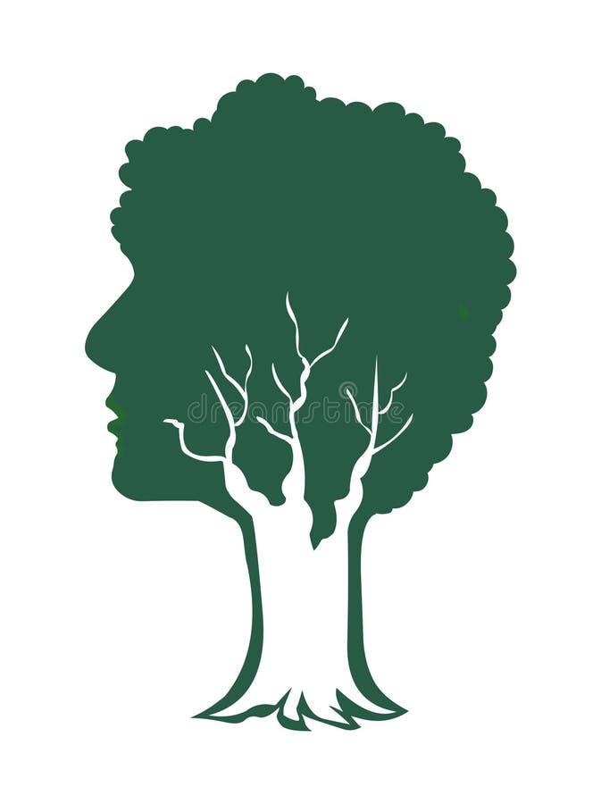 Человеческий вектор логотипа зеленого цвета концепции природы дерева бесплатная иллюстрация