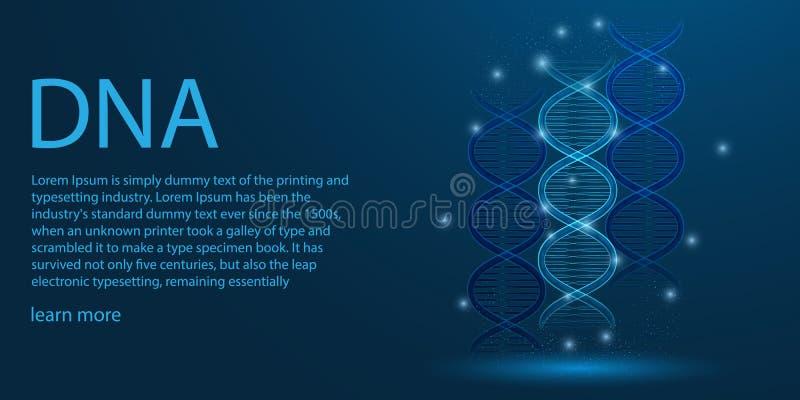 Человеческий геном Концепция темы рамки провода ДНК низкая поли на голубой предпосылке r бесплатная иллюстрация