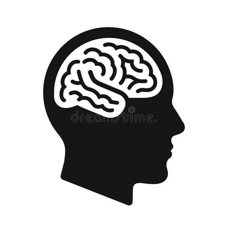 Человеческий главный профиль с символом мозга, черной иллюстрацией вектора значка иллюстрация вектора