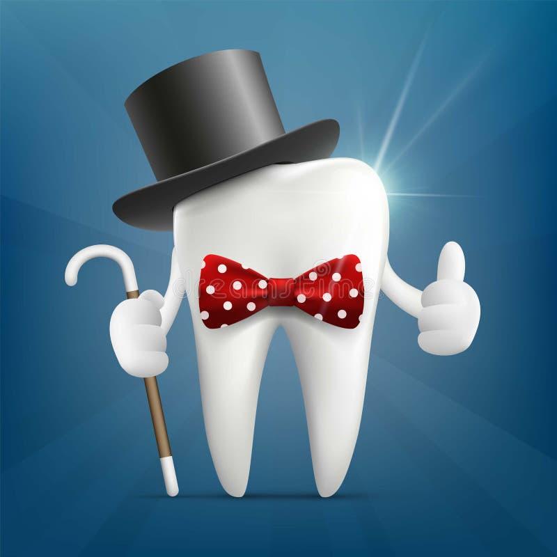 Человеческий зуб в шляпе, с тросточкой и бабочкой бесплатная иллюстрация
