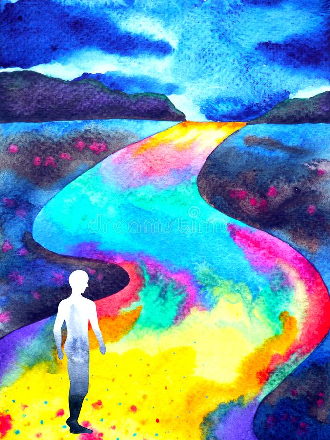 Человеческий идти в картину акварели конспекта дороги радуги иллюстрация штока