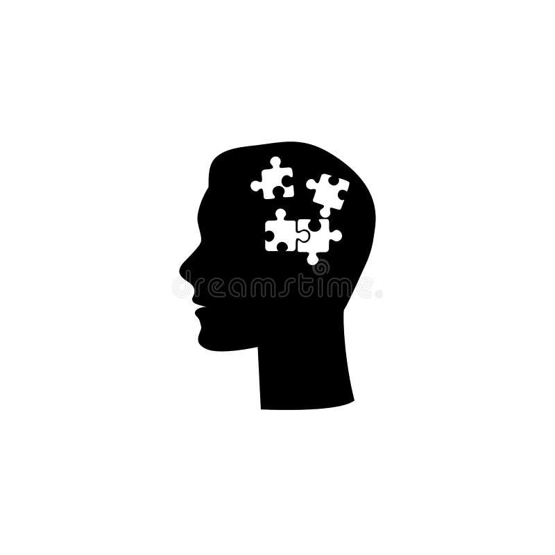 Человеческий имел плоский значок с внутренностью головоломки r иллюстрация вектора
