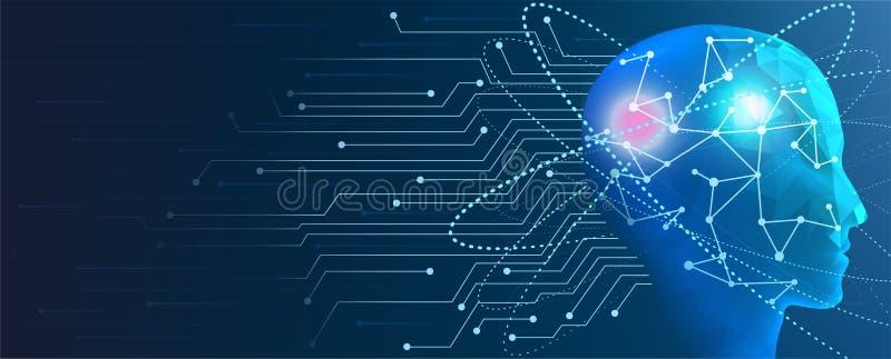 человеческий искусственный интеллект Концепция разума кибер машины иллюстрация штока