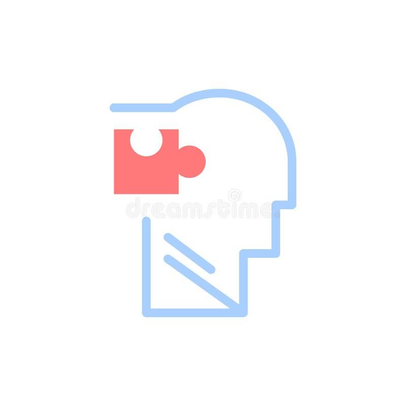 Человеческий, логически, разум, головоломка, значок цвета решения плоский Шаблон знамени значка вектора иллюстрация штока