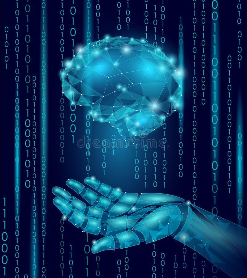 Человеческий мозг владением руки андроида робота Низкое поли полигональное иллюстрация штока