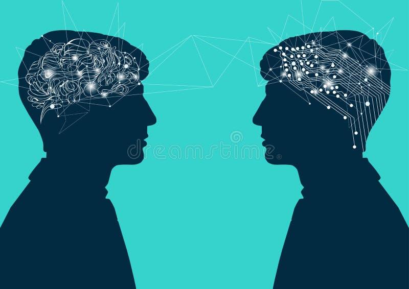 Человеческий мозг против мозга кибер соединение с человеческим разумом, концепция искусственного интеллекта иллюстрация вектора