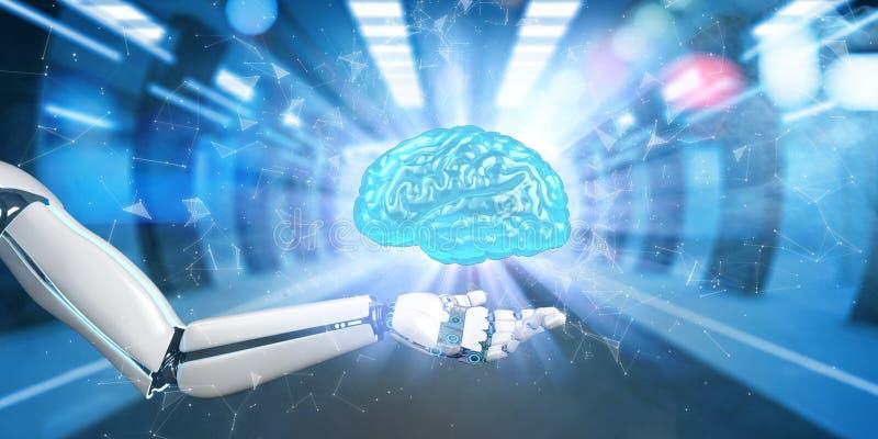 Человеческий мозг руки робота иллюстрация вектора