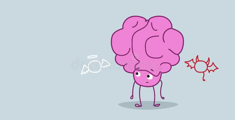 Человеческий мозг слушая ангела и дьявола выбирая между хорошим и плохим принимая персонажем из мультфильма пинка концепции решен иллюстрация вектора