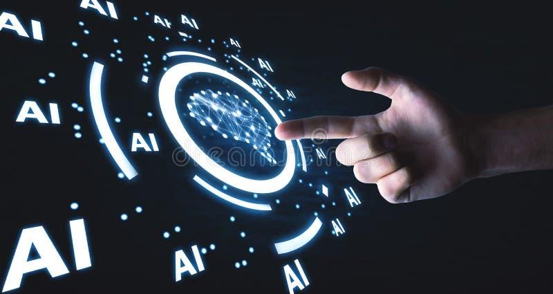 Человеческий мозг со словами Ai искусственний мозг обходит вокруг mainboard электронной сведении принципиальной схемы сверх стоковое изображение