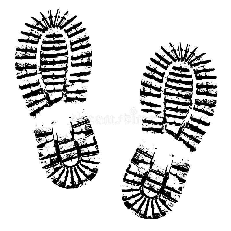 Человеческий силуэт ботинка следов ноги на белой предпосылке бесплатная иллюстрация
