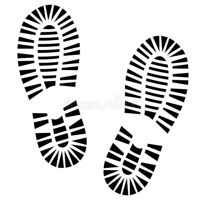 Человеческий силуэт ботинка следов ноги Отпечаток ботинка Изолированный на белой предпосылке, значок вектора иллюстрация штока