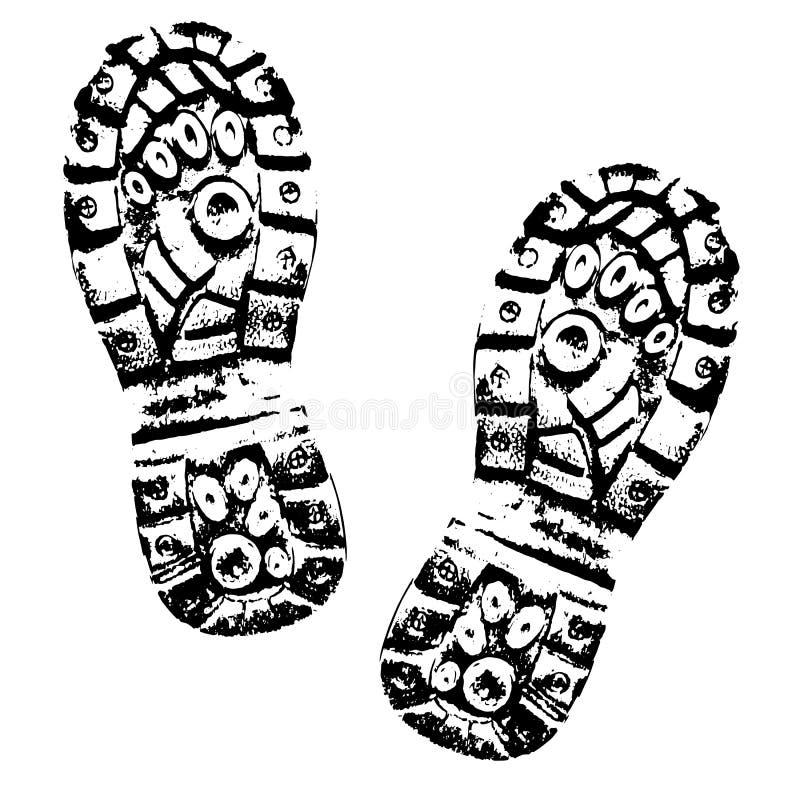 Человеческий силуэт ботинка следов ноги Отпечаток ботинка иллюстрация штока