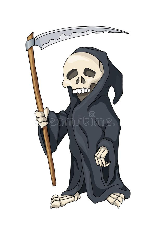 Человеческий скелет в черной робе стоя с косой, персонажем из мультфильма иллюстрация вектора