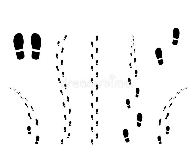 Человеческий след ноги от подошвы ботинка Силуэт пути Трассировки грязи Предпосылка дизайна вектора изолированная элементом белая иллюстрация штока