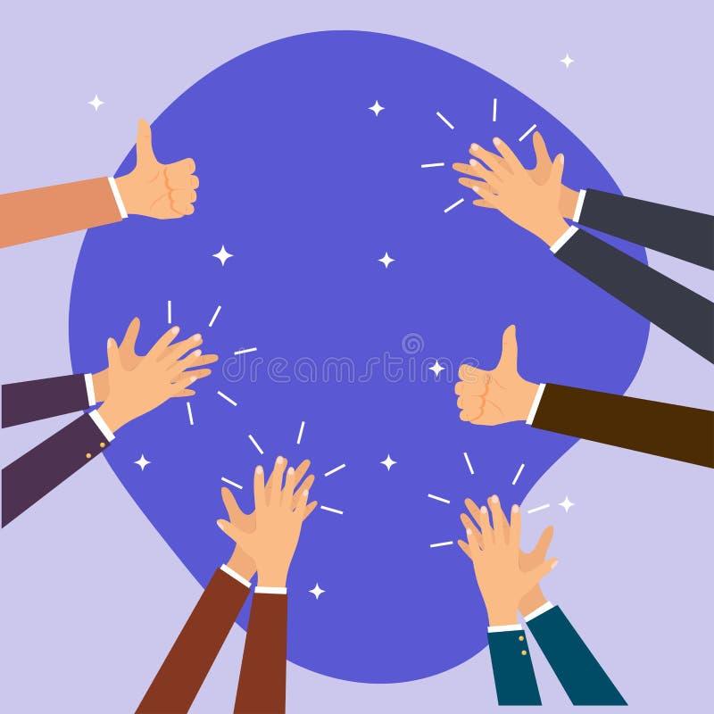 Человеческий хлопать и большие пальцы руки рук вверх Вектор il плоского дизайна современный бесплатная иллюстрация