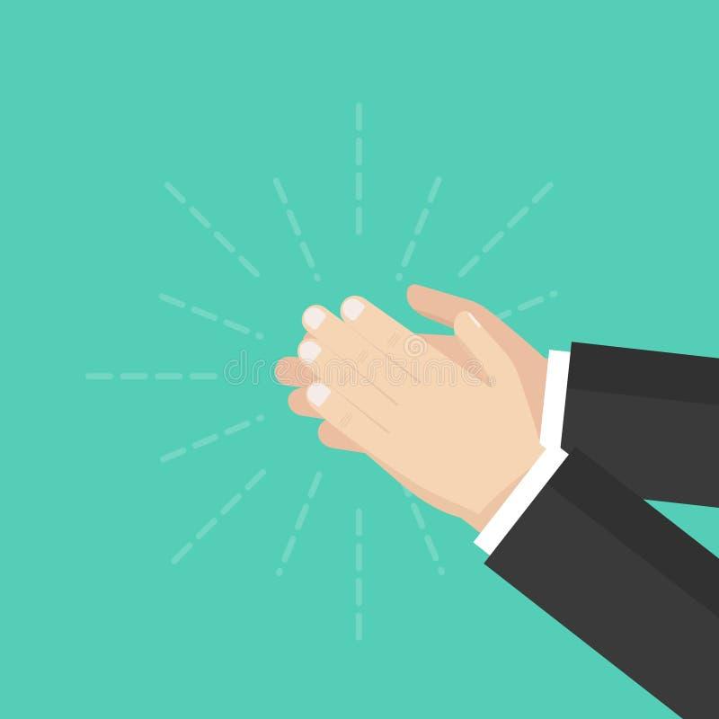Человеческий хлопать рук аплодируя руки Плоский дизайн, иллюстрация вектора на предпосылке иллюстрация штока