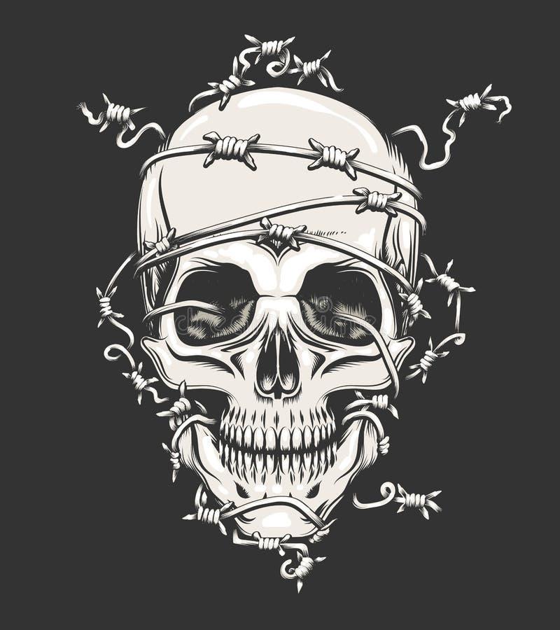 Человеческий череп в колючей проволоке иллюстрация вектора