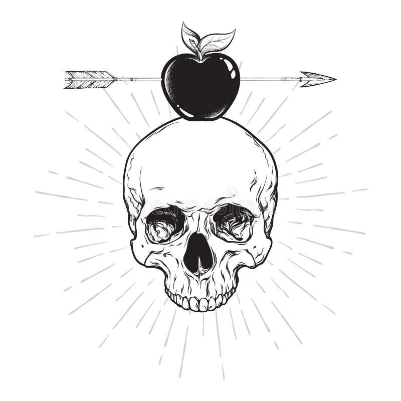 Человеческий череп и яблоко прокалыванные с линией искусством стрелки и работой точки Стикер Boho, печать или рука дизайна искусс иллюстрация вектора