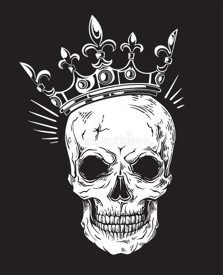 Человеческий череп с кроной для дизайна татуировки иллюстрация вектора