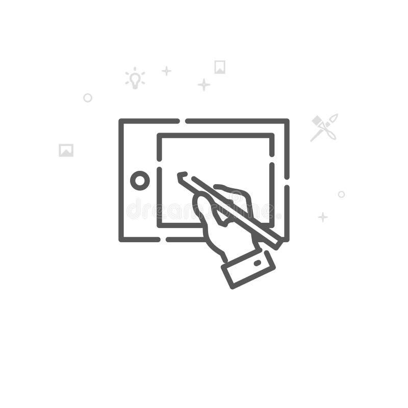 Человеческий чертеж руки на линии значке вектора планшета графиков, символе, пиктограмме, знаке r : бесплатная иллюстрация