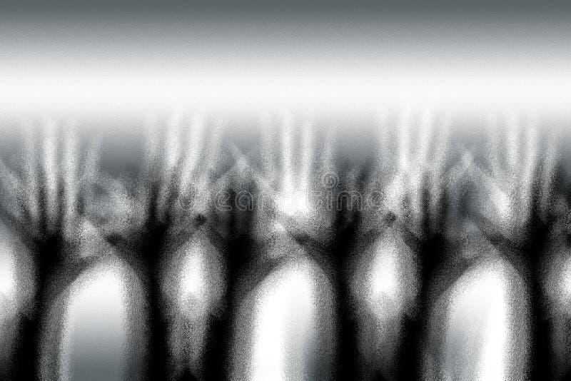 Человеческими увиденное руками до конца винтажное стекло заморозка стоковые изображения rf