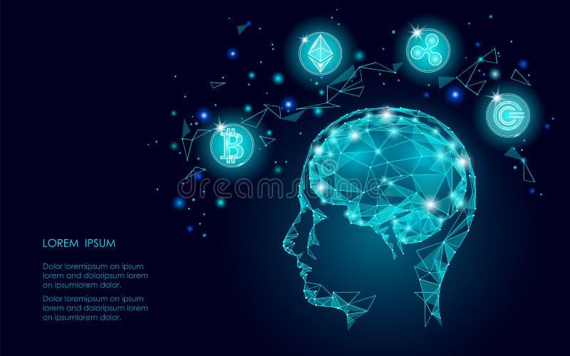 Человеческого мозга cryptocurrency монетки пульсации Ethereum Bitcoin intellegence цифрового artifitial Большое минирование данны иллюстрация штока