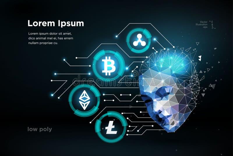 Человеческого мозга cryptocurrency монетки intellegence цифрового artifitial Большие данные иллюстрация вектора