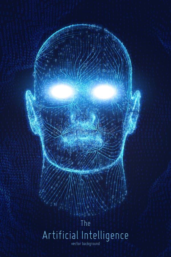 Человеческое большое визуализирование данных Футуристическая концепция искусственного интеллекта Дизайн разума кибер астетический иллюстрация вектора