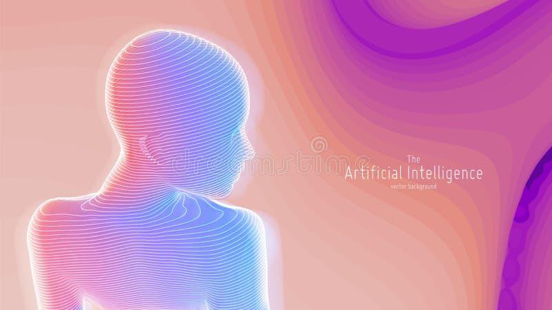 Человеческое большое визуализирование данных Футуристическая концепция искусственного интеллекта Дизайн разума кибер астетический иллюстрация штока