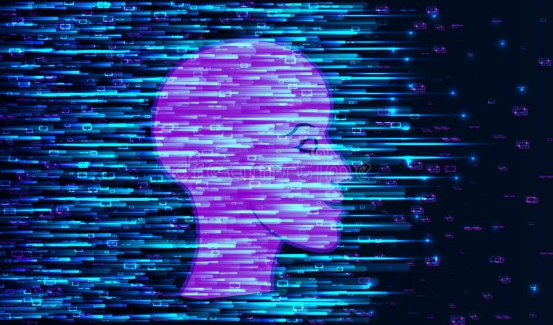 Человеческое большое визуализирование данных Футуристическая концепция искусственного интеллекта иллюстрация вектора