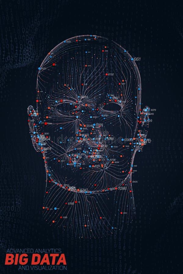 Человеческое большое визуализирование данных Футуристический AI infographic Дизайн информации астетический Визуальная сложность д иллюстрация вектора